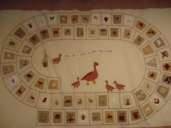 Le jeu de l'oie réalisé en patchwork par Mme FAIVRE