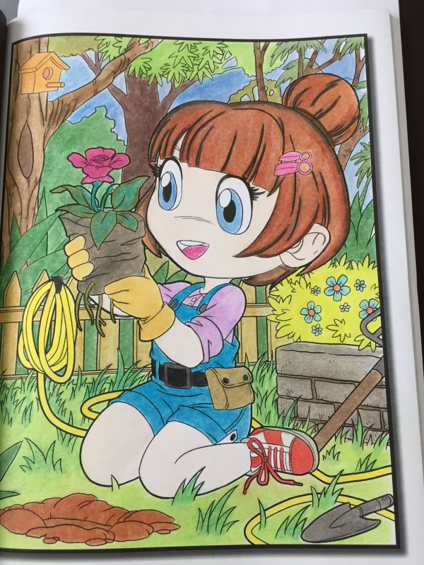 Coloriage chibi girls Petite jardinière