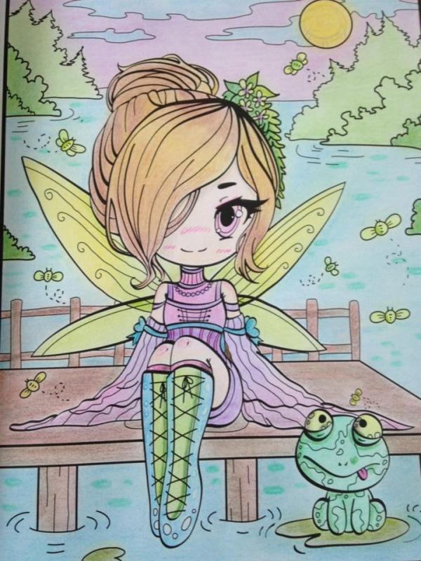 1er coloriage Chibi girls